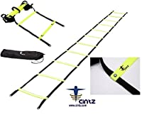 Cintz 30 ft Fixed rungs Soccer Speed and Agility ladder in a bag, (Ladder splits into two ladders of 15 ft each)
