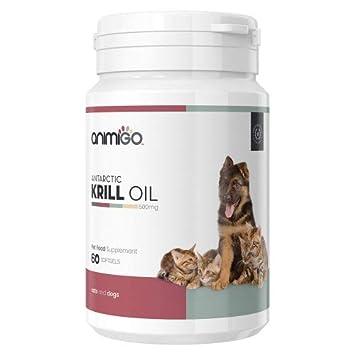 Animigo Aceite de Krill. Cápsulas de Gelatina 60mg con Omega 3 para Gatos y Perros