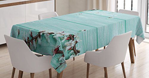 Table Plank Cherry (Ambesonne Mint Tablecloth, Spring Cherry Blossom Petals Branch on Rustic Wooden Planks Seasonal Picture, Dining Room Kitchen Rectangular Table Cover, 60W X 90L inches, White Brown Seafoam)