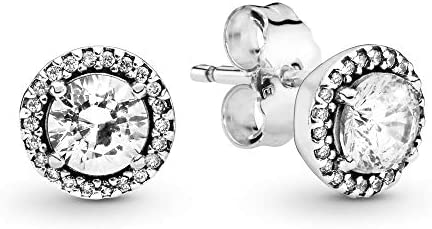 Pandora Jewelry Round Sparkle Stud Clear Cubic Zirconia Earrings in Sterling Silver