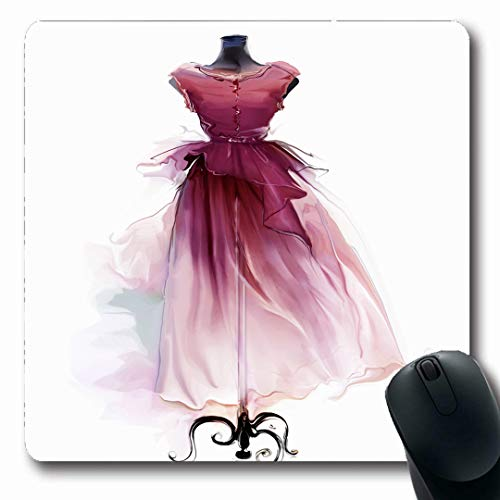 Atelier Cocktail - Ahawoso Mousepads Outfit Red Vintage Retro Dress On Gorgeous Dummy Watercolor Atelier Attractive Boutique Casual Oblong Shape 7.9 x 9.5 Inches Non-Slip Gaming Mouse Pad Rubber Oblong Mat