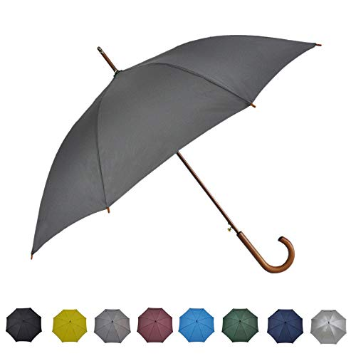 SoulRain Wood Hook Handle Umbrellas Auto Open Long Stick Umbrella 48 Inch Arc Classic Windproof Rainproof with Stylish J Handle for Outdoor Use Grey Gray