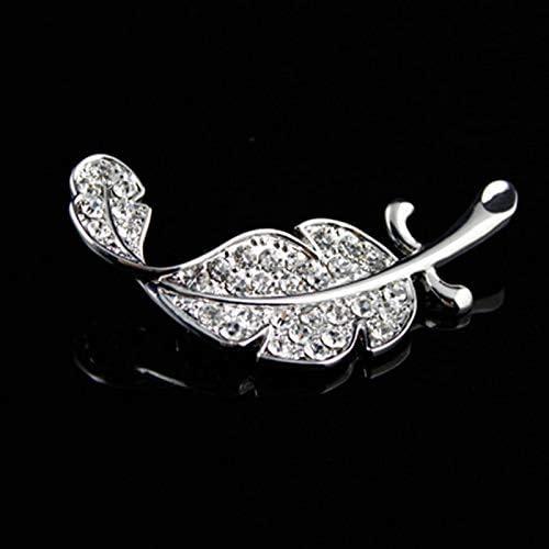 ACAMPTAR Silver Spilla A Foglia Spilla A Piume Spilla da Donna con Strass Moda Matrimonio