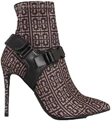a05e47eb8 Michelle Parker Cape Robbin Raider Brown Print Pointy Toe Harness Buckle  Strap Stiletto Booties