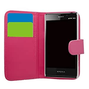 Samrick Executive Specially Designed Leather Book Wallet Case with Credit Card/Business Card Holder for Sony Xperia T LT30i/LT30P and Xperia TL - Pink by SAMRICK
