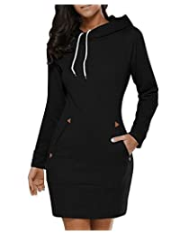 BIUBIU Women Leopard Patchwork Hoodie Dress Hooded Sweatshirt Tunic Casual Fall Winter Dress