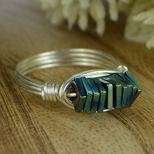 Peacock Blue Hematite Stack Ring - Sterling Silver Filled Wire Wrapped Gemstone Beads Ring - Any Size 4, 5, 6, 7, 8, 9, 10, 11, 12, 13, 14 (Half and quarter sizes available)