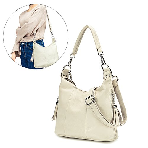 Women Shoulder Bag, Brenice National Style Vintage Genuine Leather Casual Crossbody Bag Handbag White 12.59''x 4.72''x 9.05''(LxWXH) by Brenice