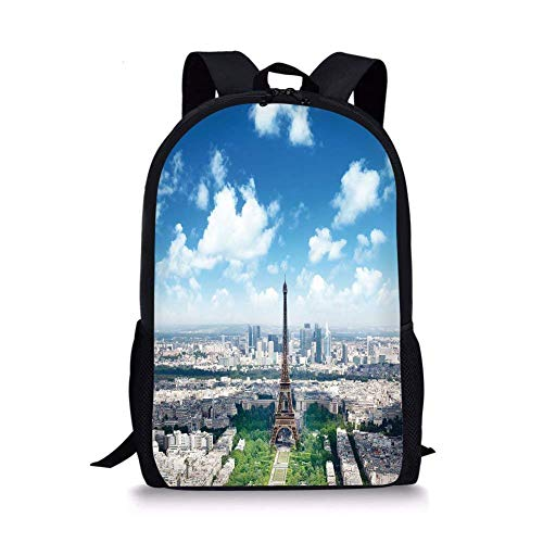 (School Bags Paris Decor,Aerial View of Eiffel Tower Skyline Cloudy Day Famous French Town City Picture Decorative,Multicolor for Boys&Girls Mens Sport)