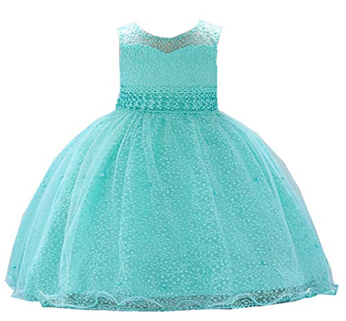 (Baby Girls Dress Toddler Baby Dresses Birthday Formal Baby Girl Summer Dresses Toddler Dresses For Special Occasions Baby Flower Girl Dress 6-12 Months Cotton Dress for Baby (O-1859,Teal)