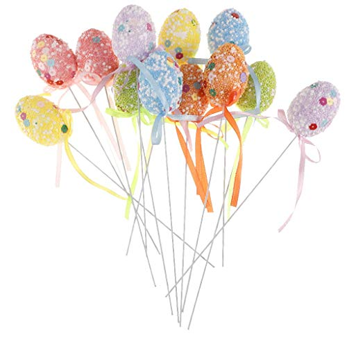 12pcs Easter Egg Cake Toppers Cupcake Picks for Easter Home Party Dessert Table Decor