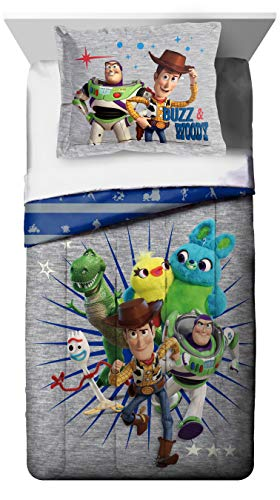 Disney Pixar Toy Story 4 All The Toys Twin/Full Comforter & Sham Set - Super Soft Kids Reversible Bedding Features Woody & Buzz Lightyear - Fade Resistant Microfiber (Official Disney Pixar Product) (Set Blanket Toy Story)