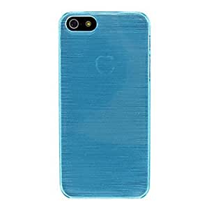 JJEPurity Wire Drawing Smooth Half Transparent Back Case for iPhone 5/5S , Blue