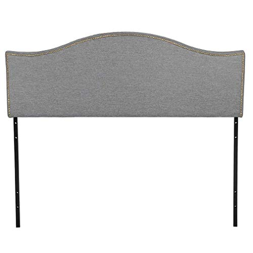 Headboard Fabric Upholstered Modern Heavy Duty Queen Size Gray Linen Curved Shape Tufted Button by BMS