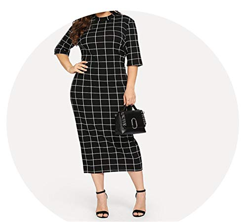 Elegant Plaid Bodycon Plus Size Long Pencil Dresses Womens Stand Collar Grid Print Slim Fit Dress,Black,L