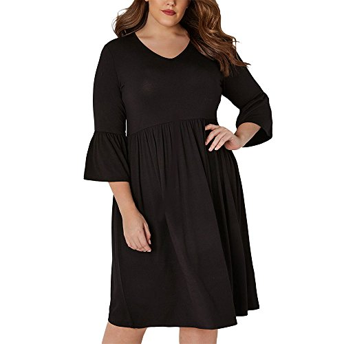 Ancapell Womens Plus Size Casual T-Shirt Midi Dress 3/4 Flare Sleeve Solid Knee Length Jersey Dress for Women