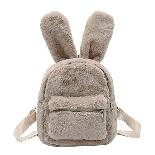 Women's Faux Fur Mini Backpack Cute Rabbit Ear Satchel Shoulder bag Purse Plush Handbags (Camel) ()