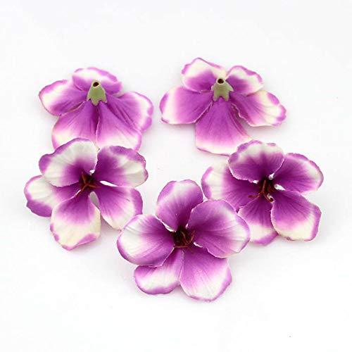 YUDX121 100pcs/lot Spring Silk Orchid Artificial Flower Heads Gladiolus Cymbidium Flowers for Wedding Decoration (Purple)
