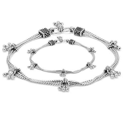 D&D Crafts 925 Sterling Silver Astonishing Link Anklets For Girls, Women by D&D