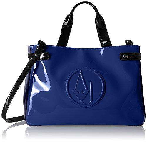 Price comparison product image Armani Jeans Color Blocked Eco Patent Shopper, Oceanblu/Dark Navy/Nero