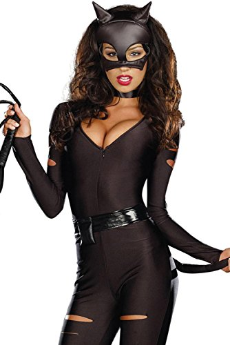 [Booty Gal Women's Sexy Role Play Cosplay Catwoman Costume Set For Hallowmas] (Womens Homemade Snowman Costume)