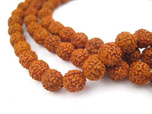 8mm Seed Beads - 8mm Rudraksha Mala Beads - 108 Authentic Nepali Prayer Rosary Beads - The Bead Chest