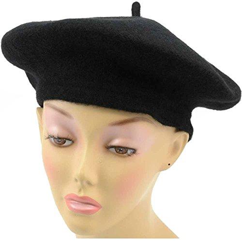 12390 (Black) Wool Beret Hat