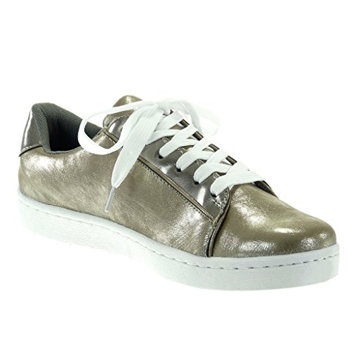 Angkorly - Women's Fashion Shoes Trainers - Tennis - patent flat heel 2.5 CM Grey pSUCJQMOEJ