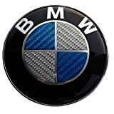 BMW Blue Silver Carbon Fiber Emblem Badge Logo for Hood Front & Trunk Rear 82mm 3.23 inch, 2 pins at the back