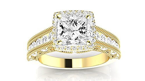 14K Yellow Gold 4.15 CTW Vintage Halo Style Channel Set Round Brilliant Diamond Engagement Ring Milgrain w/ 3.4 Ct GIA Certified Cushion Cut D Color VS2 Clarity Center (3.4 Ct Round Diamond)