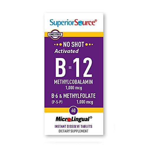 Superior Source No Shot Activated B-12 1,000 mcg (Methylcobalamin) B-6 (as Pyridoxal-5'-phosphate) 2 mg & Methylfolate 1,000 mcg