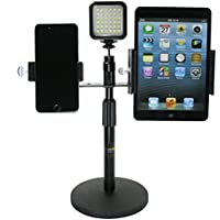 Livestream Gear - Tablet & Phone Desk Stand with LED Light for Live Streaming, Watching Videos, Reading, and More. Mount 2 Devices with Light, or 3 Devices, Spring Loaded Holders.