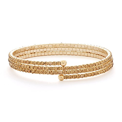 14K Gold Plated Triple Wrap Flex Bangle with Color Crystals, 18 Color Options