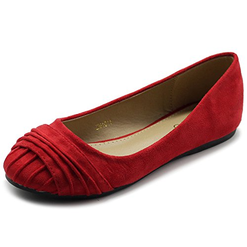 Ollio Womens Shoes Faux Suede Pleated Muliti Color Comforts Ballet Flat NEW1011 (7 B(M) US, Red)