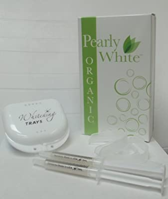 Organic All Natural Teeth Whitening Kit - Professional in Office Formula for At Home Whitening - Zero Peroxide & Pain Free ~ Pearly White Organic
