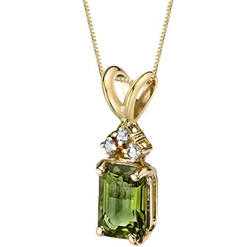 14 Karat Yellow Gold Emerald Cut 1 Carats Green Tourmaline Diamond Pendant