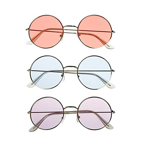(lieomo John Lennon Hippie Style 60's Style Circle Sunglasses–Glasses Favors, Costume and Party Accessory - 3 Pack(Pink Purple and)