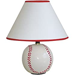 ORE International 604BB Ceramic 60-Watt Baseball Table Lamp, White / Cream