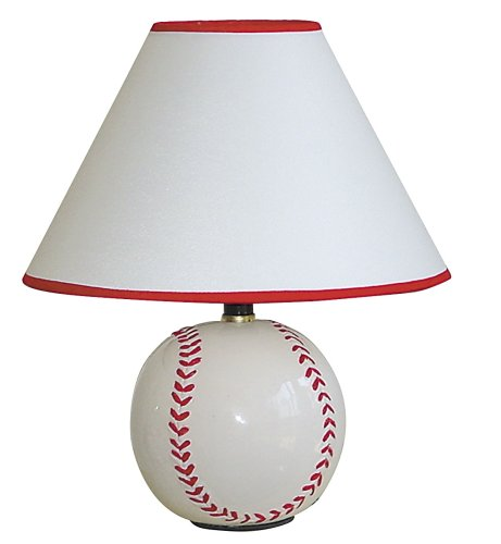 ORE International 604BB Ceramic 60-Watt Baseball Table Lamp, White / ()