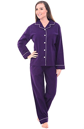 - Alexander Del Rossa Women's Warm Flannel Pajama Set, Long Button Down Cotton Pjs, 3X Deep Purple with White Piping (A0509DPU3X)