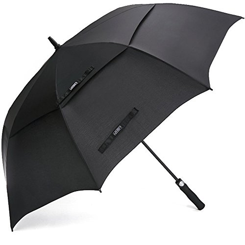 G4Free 62 Inch Automatic Open Golf Umbrella Extra Large Oversize Double Canopy Vented Windproof Waterproof Stick Umbrellas (Black) ()