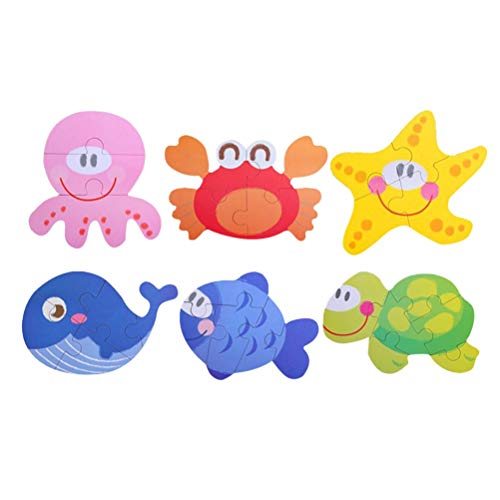 PatyHoll Wooden Jigsaw Puzzles Set Lovely Cartoon Puzzle Games Educational Toy for Kids Children Sea Animal