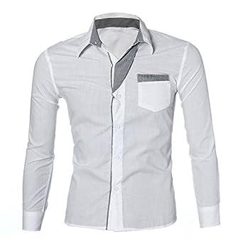 e9050727cddf2 Xmiral Chemise Homme Luxe Manches Longues Casual Slim Fit Ville élégante  (S, Blanc)