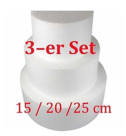 Poliestireno Tarta Decoración para tartas redondo Dummy tartas de 3 unidades, diámetro de 15/