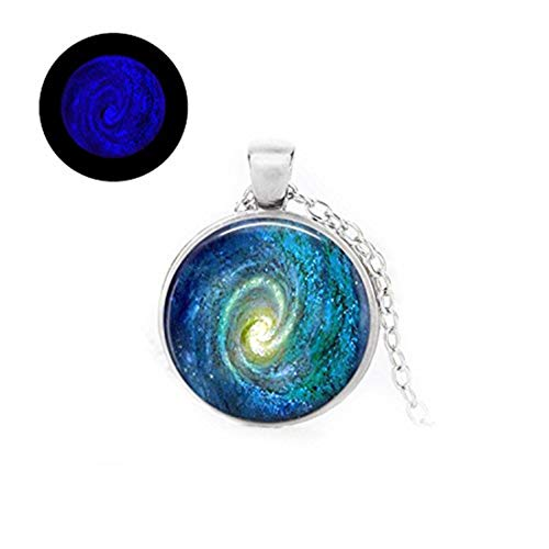 - Laco/1925 Glowlala@Space Spiral Galaxy Pendant,Glow in The Dark, Spiral Galaxy Glowing Necklace, Galaxy Blue Glowing Jewelry, Nebula Constellation Necklace, Space Pendant (Silver)