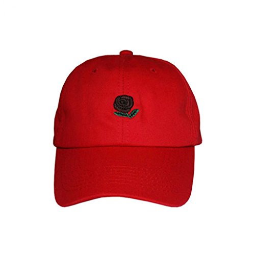 rojo Libre de Gorra Rosa de béisbol Rosas al Aire Hombre collectsound con diseño Bordadas vOwqqd5