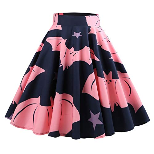 KCatsy Hepburn Vintage Series Women Skirt Spring and Summer Halloween Ghost&Bat Printing Design Corset Retro Skirt Navy -