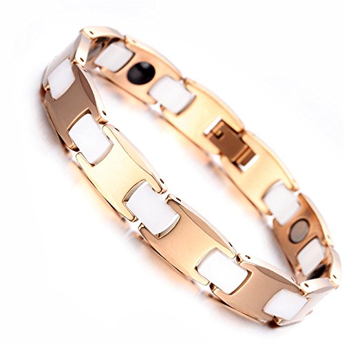 "Bracelet tungstène Mens, Rose Gold et blanc, 7,9"" kb1528"