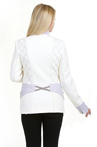 Mujer Lana para mujer natural de color blanco marrón beige lana cocinada Lolita Jacket Weiß