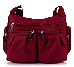 Scarleton Multi Pocket Shoulder Bag H140720 - Burgundy